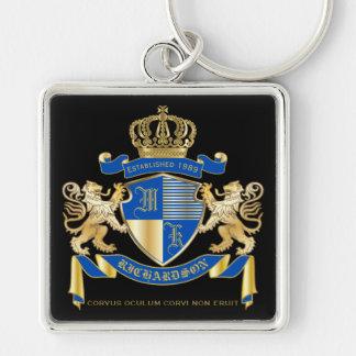Chaveiro Criar seu próprio emblema azul do leão do ouro da