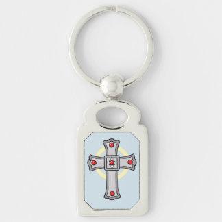 Chaveiro Cruz católica com rubis