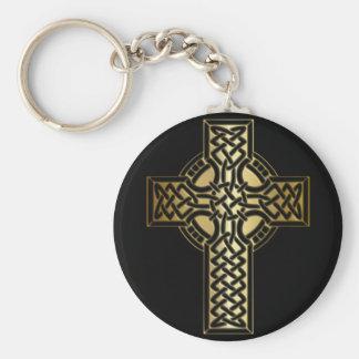 Chaveiro Cruz celta do nó no ouro e no preto