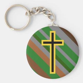 Chaveiro Cruz cristã amarela & preta em listras naturais