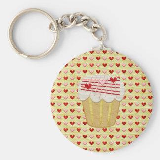 Chaveiro Cupcake com velas do coração, vermelho dos