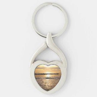 Chaveiro customizável do coração da foto do oceano