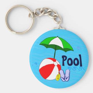 Chaveiro Da piscina azul das ondas do guarda-chuva da