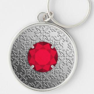 Chaveiro Damasco de prata com uma pedra preciosa da