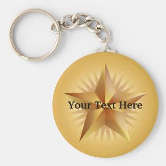 Chaveiro de brilho da estrela do ouro