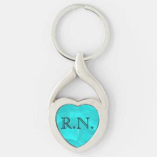Chaveiro de prata do coração da enfermeira