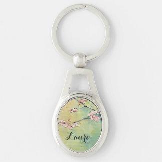 Chaveiro de prata personalizado flor de cerejeira