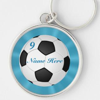Chaveiro de prata superior do futebol SEUS NOME &