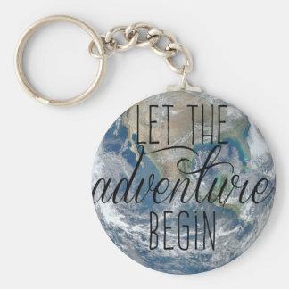 Chaveiro Deixe a aventura começar a caneca, citações