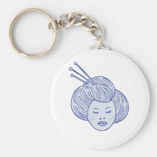 Chaveiro Desenho da cabeça da menina de gueixa