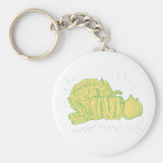 Chaveiro Desenho da cebola do capsicum de Brocolli
