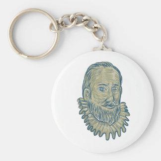 Chaveiro Desenho do busto do senhor Walter Raleigh