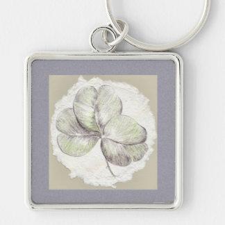 Chaveiro Desenho do trevo na imagem do papel Handmade