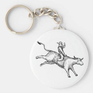 Chaveiro Desenho do vaqueiro do rodeio da equitação de Bull