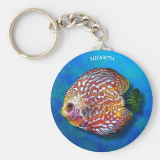 Chaveiro Desenho exótico colorido psicadélico dos peixes do