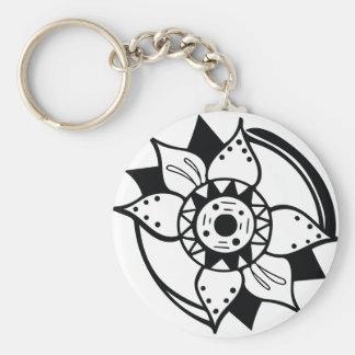 Chaveiro Desenho preto e branco monocromático da flor