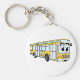 Chaveiro Desenhos animados amarelos do ônibus da cidade