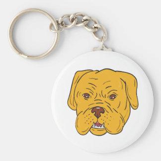 Chaveiro Desenhos animados da cabeça de cão do Bordéus