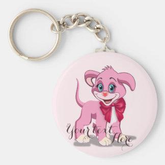 Chaveiro Desenhos animados do filhote de cachorro do rosa