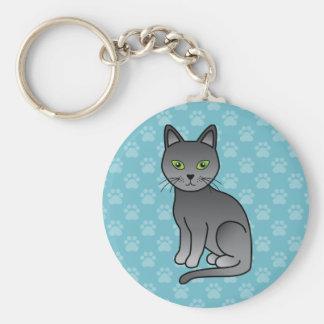Chaveiro Design azul do gato dos desenhos animados da raça