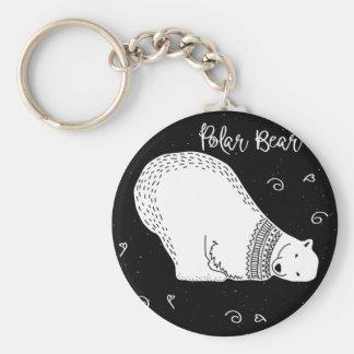 Chaveiro Design bonito do urso polar em preto e branco
