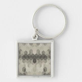 Chaveiro Design geométrico do cubo da escala cinzenta