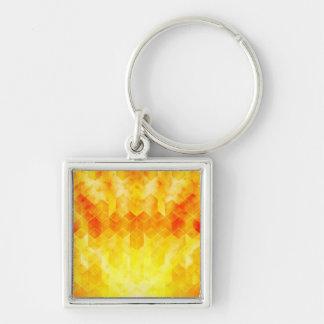 Chaveiro Design geométrico do cubo do Sunburst amarelo
