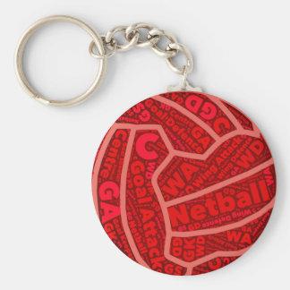 Chaveiro Design vermelho temático da bola da tipografia do