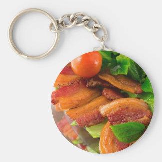 Chaveiro Detalhe de uma placa do tomate fritado do bacon e