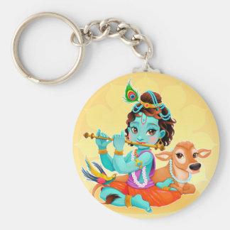 Chaveiro Deus indiano de Krishna que joga a ilustração da