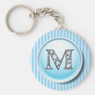 """Chaveiro Diamante Bling de """"M"""" na chave azul do quadro do"""