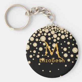 Chaveiro Diamantes dourados em monogrammed preto