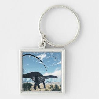 Chaveiro Dinossauro do Apatosaurus no deserto - 3D rendem