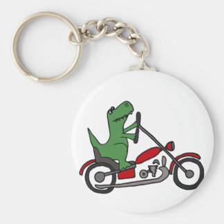 Chaveiro Dinossauro engraçado de T-rex na motocicleta
