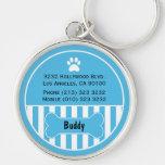Chaveiro do azul do Tag da identificação do cão