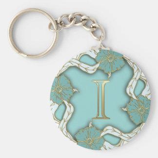 Chaveiro do monograma do ouro no design floral