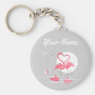Chaveiro do nome do amor do flamingo básico