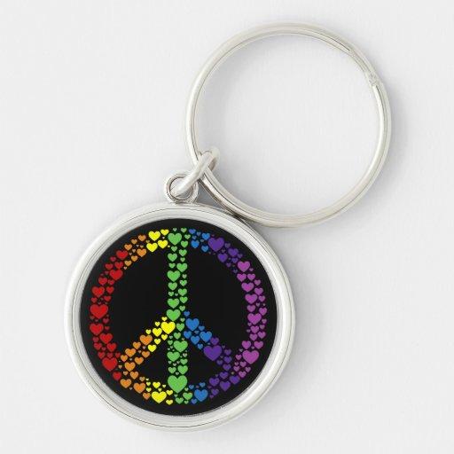Chaveiro do sinal de paz dos corações do arco-íris