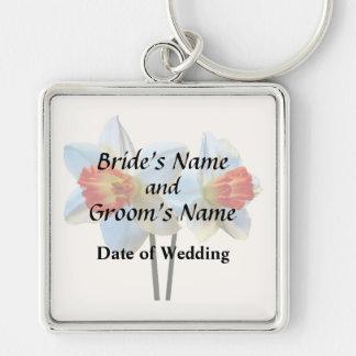 Chaveiro Dois brancos e Daffodils alaranjados que Wedding