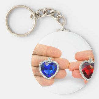 Chaveiro Dois corações da jóia na mão do homem e da mulher