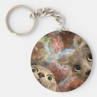Chaveiro Dois gatos cinzentos no espaço antes de uma