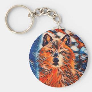 Chaveiro dos animais selvagens do lobo vermelho