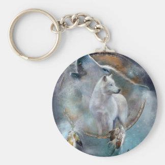 Chaveiro Dreamcatcher do lobo - lobo branco - arte do lobo