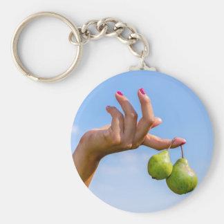 Chaveiro Entregue guardarar duas peras verdes de suspensão