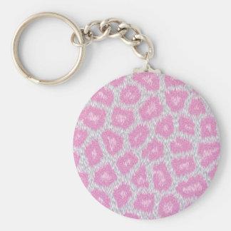 Chaveiro Estilo do leopardo de neve - rosa de prata
