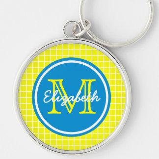 Chaveiro Estrutura amarela e branca com monograma azul