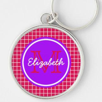 Chaveiro Estrutura cor-de-rosa e branca com monograma roxo