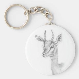 Chaveiro Estudo da gazela no anel chave do botão básico do