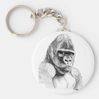 Chaveiro Estudo do gorila no anel chave do botão básico do