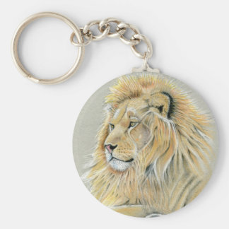 Chaveiro Estudo do leão no anel chave do botão básico do